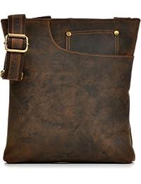 Vintage Ledertasche von 'URBAN FOREST, Cntmp' Leder Umhängetasche Messengerbag Schultertasche, Crossover Taschen, Naturleder, 27x29x4cm (B x H x T)