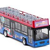 LXWM Camión de Doble Piso con Techo Abierto Bus turístico de simulación Modelo 1:48 Coche de Juguete con Sonido y luz Que se desliza hacia atrás,Purple