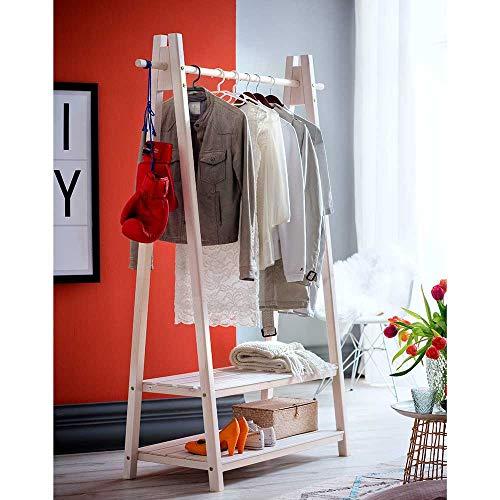 Pharao24 Kleiderständer in Holz White Wash Fichte Massivholz