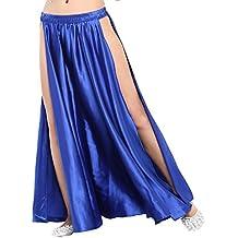 Dance Fairy Mujer Danza del Vientre Hendidura alta Satín Falda Larga de Apertura,azul real(No contiene el cinturón)