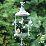 Videx Metall-Gartenstecker Vogelfutterstation mit Verzierung, 130cm, grau-antik