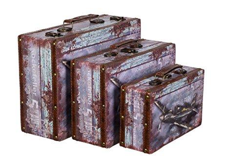 Truhe Kiste KD 1293 Koffer , Kofferset , Holztruhe mit edlem Leder bezogen im Vintage Look, Schatzkiste,Kiste, Piratenkiste, Kleinmöbel, Mit Metallbeschlägen, Antikoptik, Holz, verschieden Größen, Maritim, Deko, Hochwertig, Kolonialtruhe, Kolonialstil, Holzbox, Truhe mit Ornamenten . (SET Größe M + L + XL)
