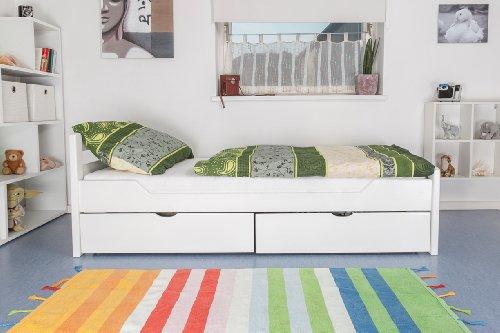 """Holzbett / Gästebett """"Easy Möbel"""" K1/2n inkl. 2 Schubladen und 2 Abdeckblenden, 90 x 200 cm Buche Vollholz massiv weiß lackiert"""