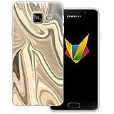 Mobilefox Liquid transparente Silikon TPU Schutzhülle 0,7mm dünne Handy Soft Case für Samsung Galaxy A3 (2016) Liquid Gold - Verlauf Hülle Cover Gel