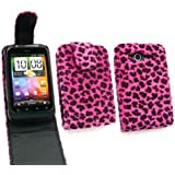 Emartbuy Htc Wildfire S (G13) Furry Leopard Pink Flip Case / Cover / Tasche Und Lcd Screen Protector