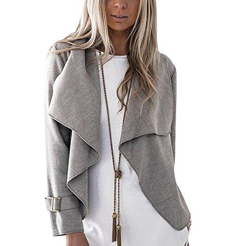 Wenyujh Femme Cardigan en Laine Gilet Veste Ouvert Volants Manches Longues Casual Fashion Gris