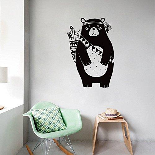 ALLDOLWEGE Oso Tribal pegatinas de pared habitación niños animal pegatinas decorativas cartoon oso montaña tallada 56*82cm negro