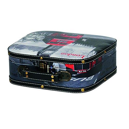 Kleiber London klein Aufbewahrungs Koffer, Box, Holz, schwarz, 29 x 26 x 10 cm