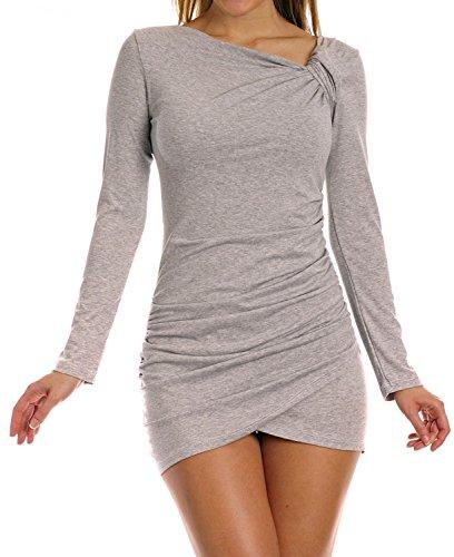 Zeta Ville - Robe courte - manches longues - robe tunique jersey - femme - 941z Gris Melange