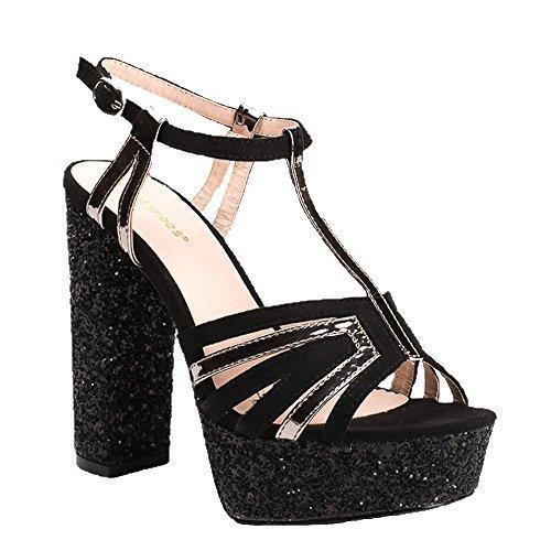 Ideal Shoes Sandales BI-Matière à Talon Carré Pailleté Therese Noir