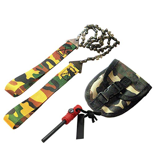 Survival Pocket Hand Chainsaw Säge Pocket Chainsaw Blad Essential für Survival Gear, Bug Out Bag, Camping Gear, Survival Kit, Camping Ausrüstung, Wandern Gear, Notfall Kit, Katastrophe kit-trimming Bäume 61 cm Sägekette - multicolour+stick