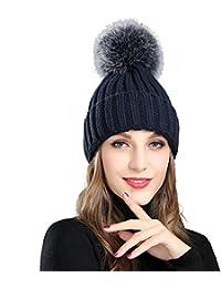 Roffatide Mujer Mullido Pelo Artificial Beanie Sombrero de Punto con Pom Pom  Ball Gorro de Nieve 267e5121f4c
