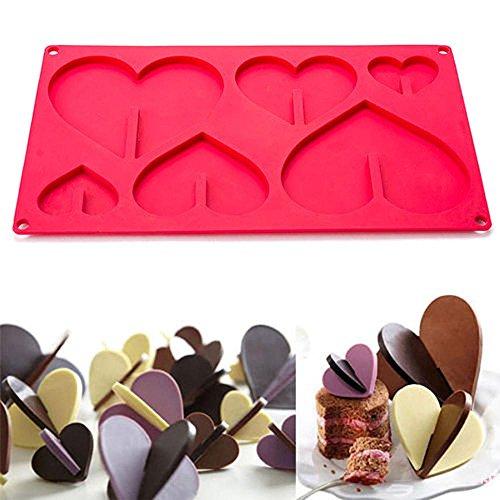 masrin 3D Herz Silikon Kuchen Form Candy Fondant Schokolade Form DIY Backen Werkzeug Decor rot