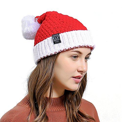 Ukallaite Let's Party Fashion Cute Christmas Style Häkelmütze für Herren und Damen, warm, Rot, rot, Einheitsgröße