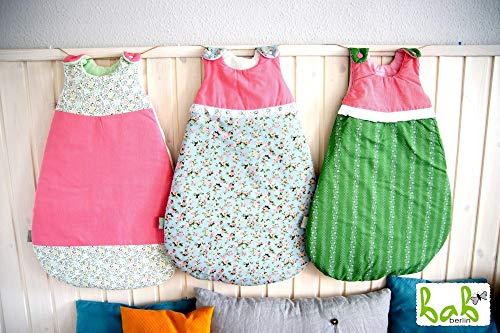 Baby Schlafsack Gr.70, 0-6 Monate in Rosa/Grün mit Blumen, Schlafsack für Mädchen Handmade in Germany