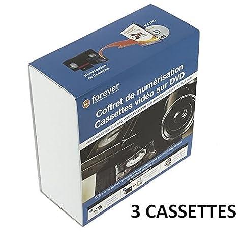 Forever : Coffret 3 cassettes de numérisation de K7 sur DVD, convertir cassette en dvd, vidéo, caméra, rapide VHS, copie, sécurisé / convertisseur kit