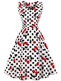 FAIRY COUPLE 50er V-Ausschnitt Rockabilly Polka Blumen Jahrgang Kleid Cocktail DRT072(M,Weiße Kirsch Punkte)