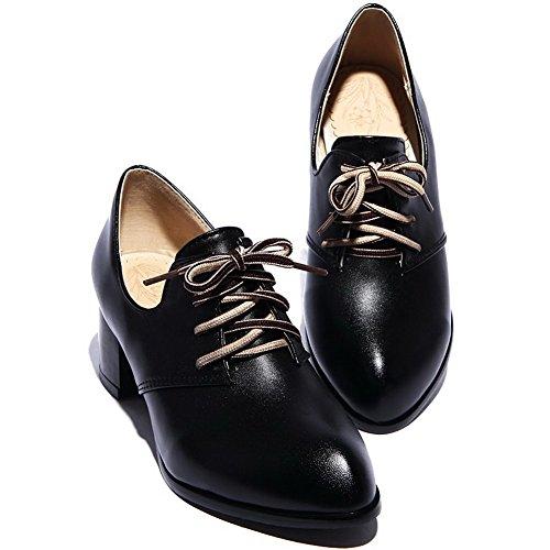 Pu Spitz Schuhe Leder Zehe Voguezone009 Mittler Schnüren Damen Pumps Absatz Schwarz Schließen Rein Iqqwpa0P
