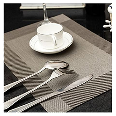 PVC Table Placemats Coffee Tea Place Mat Tableware Pad Set of 4(Grey)