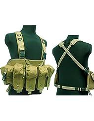 Táctico AK pecho aparejo combate chaleco, con bolsillo para cargador) para Airsoft y Paintball militar marrón