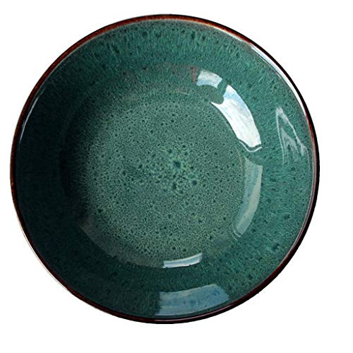 MLMHLMR Bol en céramique Vintage Vert pâtes émaillées Plateau de céréales Assiette à Salade de Fruits Vaisselle 20x6cm Bol