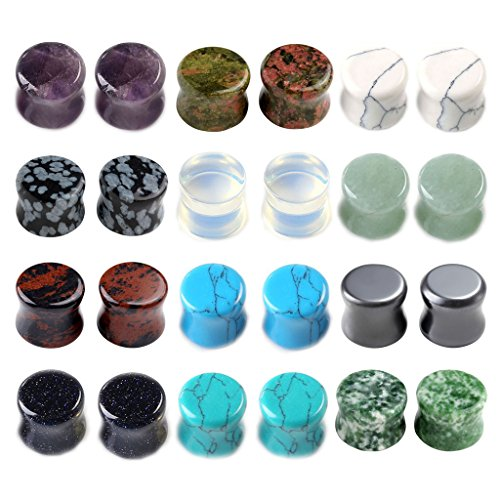 PiercingJ 12 Paare 6-16MM Steine Plugs Plug Set Tunnel Set Sattel Double Flared Expander Ohrstecker Ohrpiercing Stein Set