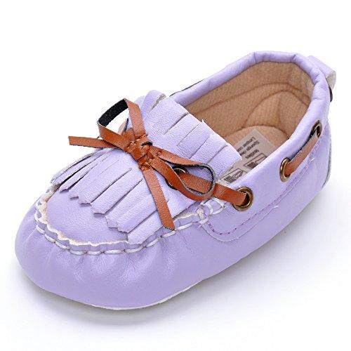 Infant Unisex Schleife Wildleder Mokassins, - Dunkelblau - Größe: 12-18 monate Lavender