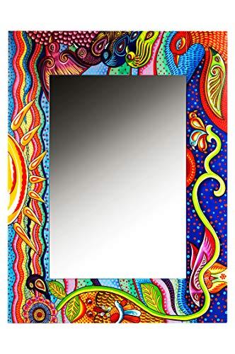 MAADES Spiegel Wandspiegel Tahiti 100cm groß bunt | Großer bunter Flurspiegel mit Holzrahmen Handbemalt | Karibik Motiv Shabby chic Badspiegel ohne Beleuchtung als Karibische Party Deko