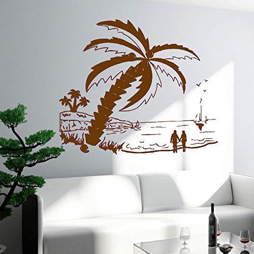 zhuziji Wandtattoo Schlafzimmer Strand Palm Sonnenuntergang Romantische Liebe Meer Wandaufkleber Wohnkultur Für Wohnzimmer Hohe Qualität Aufkleber Zitieren 888-4 56x75 cm
