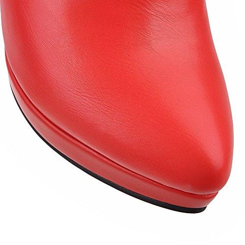 VogueZone009 Femme Zip Pointu Stylet Pu Cuir Haut Bas Bottes avec Masse Métal Rouge