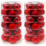 com-four® 48 Weihnachtskugeln in rot glänzend und matt, Christbaumkugeln aus echtem Glas für Weihnachten, Baumschmuck für Ihren Christbaum, Ø 6 cm (48 Stück - rot glänzend+matt)
