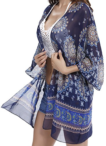 Angerella Sexy See-Through chiffon Beachwear occultamenti Kimono cardigan da Donna Navy