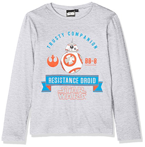 Star Wars The First Order, Camiseta para Niños, Gris Grey Melange, 8 Años