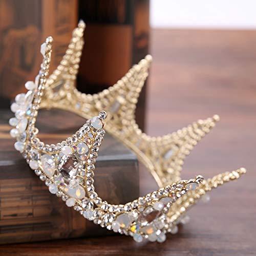 AlonSwallow Braut Krone Headdress Golden Full Circle Krone Kralenstein Krone Krume Hochzeits-Accessoires Krone Haar-Accessoires Prinzessin Rheinestone (Gold) (Von Krone Eine Dornen)