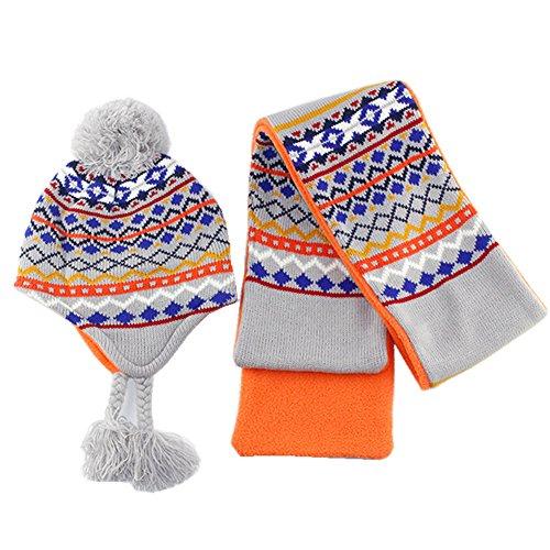 Tyidalin Strick Kindermütze mit Schal Baumwolle Karomotive Babymütze Wintermütze Winter/Herbst für Kinder Jungs
