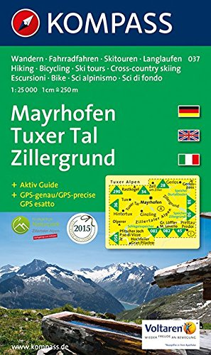 Carta escursionistica n. 037. Austria. Tirolo... Mayrhofen, Tuxer tal, Zillergrund 1:25.000. Con carta panoramica. Adatto a GPS. Dig. map. DVD-ROM. Ediz. multilingue: Wandelkaart 1:50 000