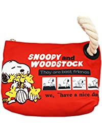 Snoopy And Woodstock Small Red Fabric Rope Handle Tote Bag