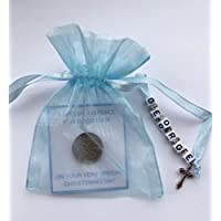 Personalised Lucky Sixpence Christening Gift - Baby Boy or Girl with Charm