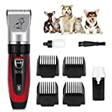 GHB Haustier Tierhaarschneider Elektrische Haarschneider Wiederaufladbare Tierschermaschine mit 4 Aufsätze 3/6/9/12mm und Akku für Hunde und Katzen Grooming - Rot