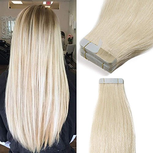 Extension capelli veri biadesivo 40 fasce 100g estensioni adesive capelli lisci tape hair extension remy human hair (40cm #60 biondo platino)
