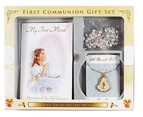 Erstkommunion Geschenk-Set Rosenkranz Kelch Halskette messbücher Buch Mädchen ()