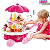 #4: Kids Choice Kid's Ice Cream and Sweet Marketing Cart with Music Role Pretend Play Toy