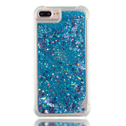 3C-LIFE iPhone6 Plus [1Case + 1Holding Strap] Cute Shiny Luxury Floating Glitter Case Girls Women Sparkle Bling Quicksand Liquid Cover Clear TPU Bumper Case for iPhone6 Plus (Blue) (Bling Plus Cover Iphone6)