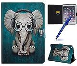 """MoreChioce Coque pour iPad 6 Cuir,iPad 2017 9.7"""" Étui Housse, Mode Flip Wallet Étui en Cuir Tablette Cover Antichocs Housse pour iPad 5/iPad Air/iPad 6/iPad Air 2/iPad 2017 9.7 Pouces,éléphant"""