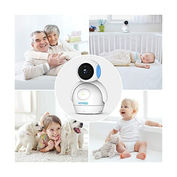 HOMIEE 720P Digital Robot Appearance Camera Exclusive for HOMIEE Baby Monitor, Sound & Temperature Alert, Two Way Audio and Baby Lullabies, Night Vision with 1000ft Range (Additional Camera) HOMIEE 【Pair with up to 4 Cameras】 Up to 4 cameras can be hooked up to HOMIEE baby monitor for more babies, each camera will loop for 10 seconds. Additional camera only works with HOMIEE BM1002 Baby Monitor. 【360-Degree Omnidirectional Coverage】The robot can be wireless controlled to rotate about 360 degree horizontally, to bow and lie down between 105 degree at most. HOMIEE video baby monitor also supports zoom for closer views on screen 【2.4GHz Wireless Connection Technology】No need to connect WIFI, needless of 3G/4G mobile data traffic, the 2.4GHz wireless technology provides 100% digital privacy and security, with range up to 1000ft in open space. Night vision is also supported 6