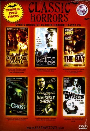 CLASSIC HORRORSTriple DVD Pack and double feaure[6 Classic Tales Of Fright]Nightmare Castle+White Zombie+The Bat+The Ghost+The Invisible ()