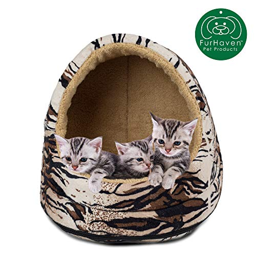 Furhaven Pet Cat Bed | Hooded Tent House Cave Animal Fur Print Dome Lounger Hood Pet Bed for Cats & Small Dogs, Tiger, One-Size -