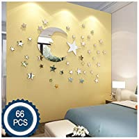 ATFUNSHOP Moon and Stars Wall Stickers - 30cm Largest Moon with 66 Pieces Different Size Stars - for Baby Kid Room Decoration - Fairy atmesphere creation