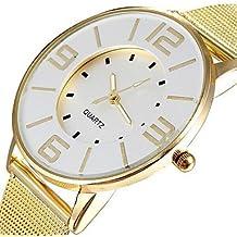 Reloj de la moda banda de malla de acero populares oro mujeres de lujo relojes de cuarzo de vestir de marca horas reloj esfera blanca dama ( Color : Oro , Talla : Para Mujer-Una Talla )