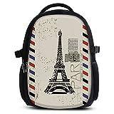 Rucksack für Jungen Mädchen Damen Herren - Schulrucksack Schulranzen Ranzen für die Schule - Backpack für Stadt/Sport für Kinder & Jugendliche - Cooles Design/aus Canvas Stoff - Paris Stamp